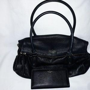 Kate Spade Leslie black leather bag purse with wal